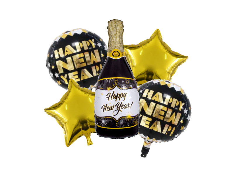 Happy New Year Champagne Bottle Foil Combo - Gold & Black Colors - Instaparty.in
