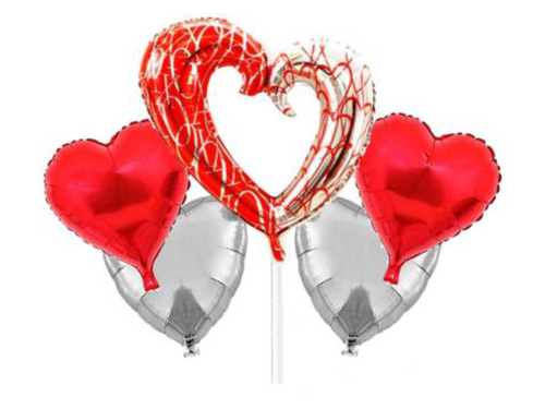 Heart Shape Foil Baloons Combo - Red & Silver Colors - Instaparty.in