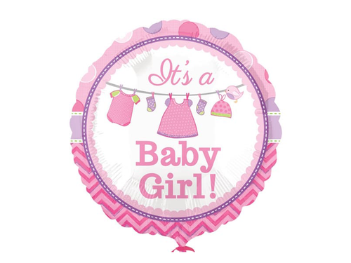Its A Baby Girl Round Foil Balloon - Light Pink Color - Instaparty.in