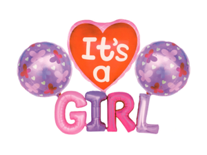 Its A Girl Foil Balloon Combo - Pink Color - Instaparty.in