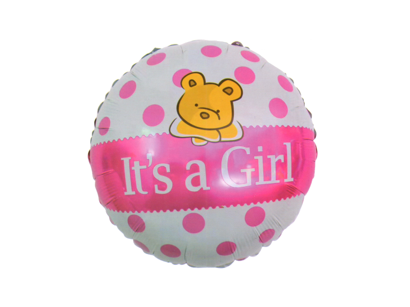 Its A Girl Round Foil Balloon - Pink Color - Instaparty.in