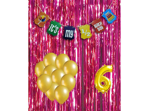 Half Birthday Special Combo - Pink & Gold Colors - Instaparty.in