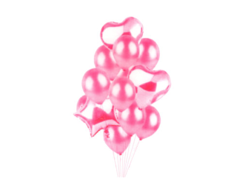 Latex And Foil Balloons Set - Pastel Pink Color - Instaparty.in