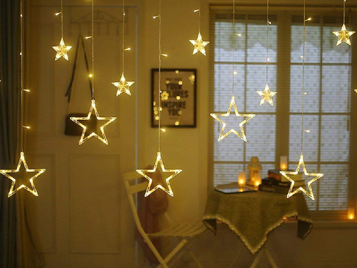 LED Curtain String Lights - 12 Stars, 138 Pieces, 8 Modes - Warm White Color - Instaparty.in