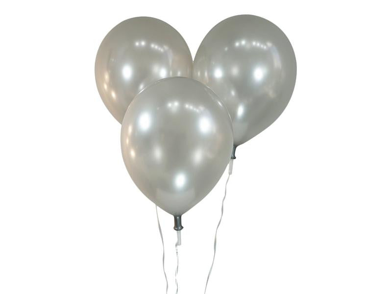 Metallic Silver Balloons - Pack of 15 - Instaparty.in