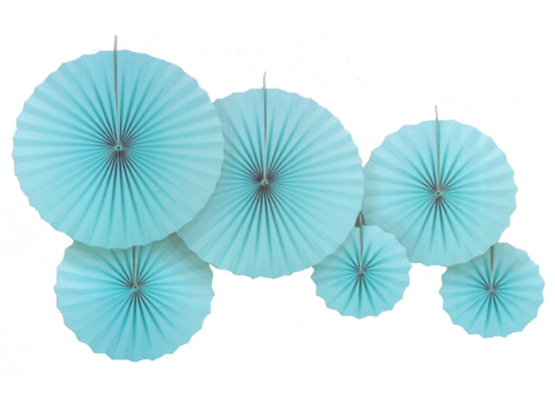 Paper Fans set of 6 - Blue Color - Instaparty.in