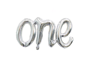 ONE Letters Attached Foil Balloon - Silver Color - Instaparty.in
