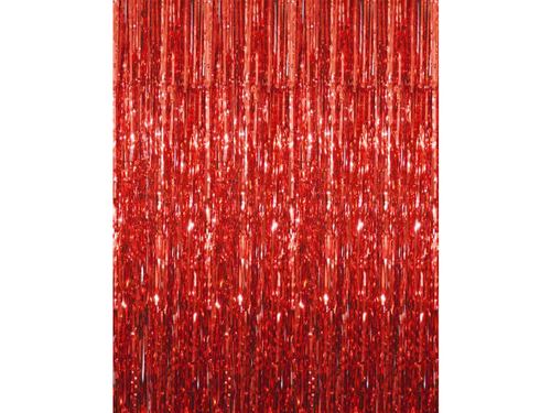 Premium Foil Curtain Backdrop Red Color - 3 Feet x 6 Feet - Instaparty.in