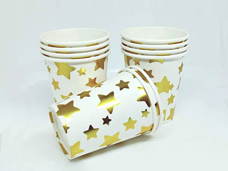 Party Paper Glasses - Pack of 10 - White & Gold Colors - Instaparty.in