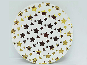 Party Paper Plates - Pack of 10 - White & Gold Colors - Instaparty.in