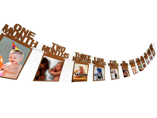 12 Month Photo Banner - Brown Color - Instaparty.in