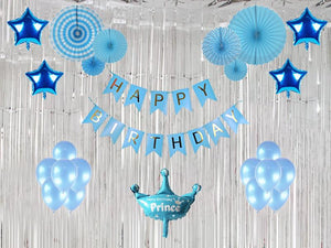 Premium Happy Birthday Special Combo - Blue & Silver Colors - Instaparty.in