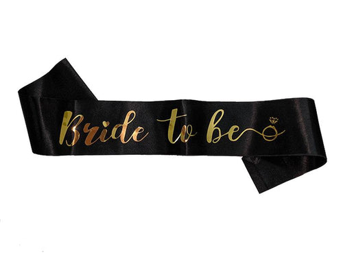 Shiny Bride To Be Sash - Black & Gold Colors - Instaparty.in