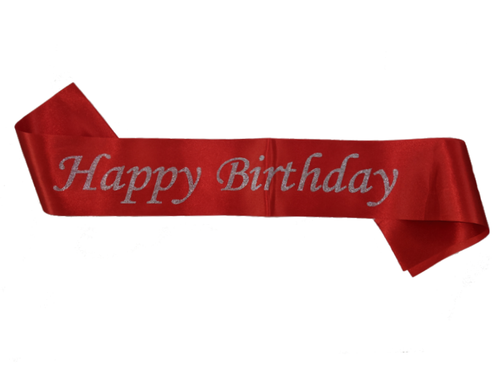 Shiny Happy Birthday Sash - Red Color - Instaparty.in