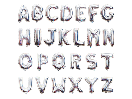 Silver Color Alphabet Foil Balloons - Instaparty.in