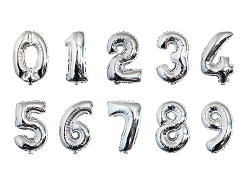 Silver Color Number Foil Balloon - Instaparty.in