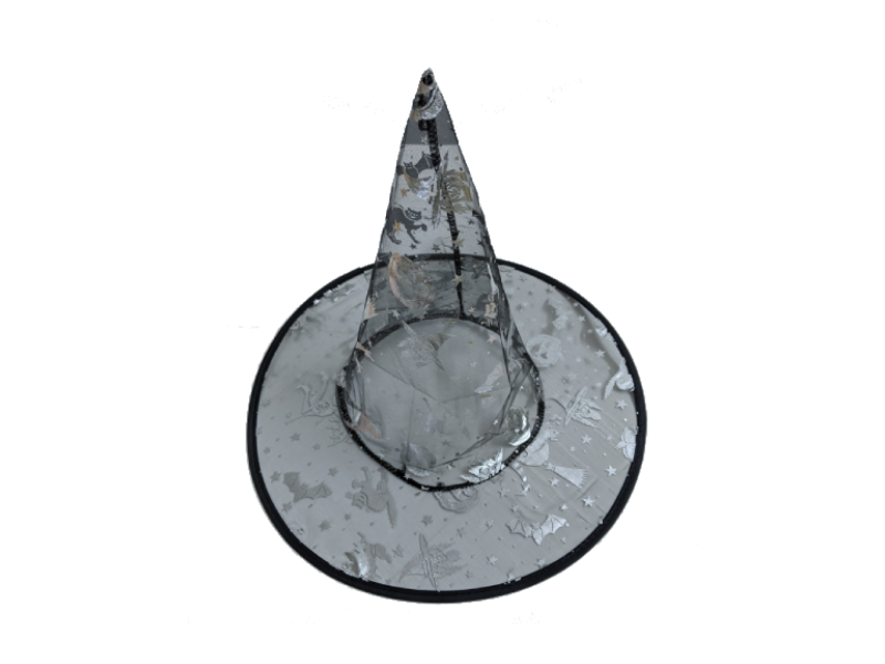 Silver Colored Transparent Witch Hat - Halloween - Instaparty.in