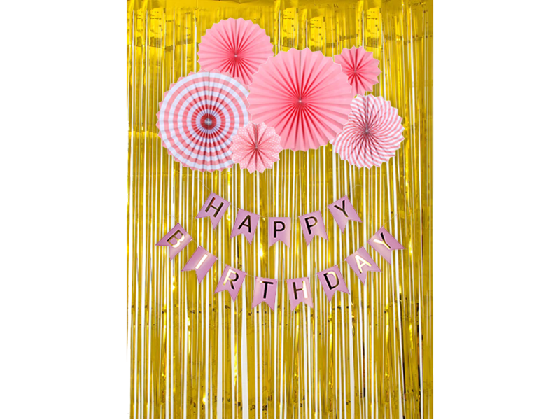 Simple Happy Birthday Special Combo - Pink & Gold Colors - Instaparty.in