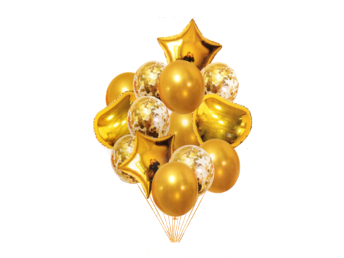 Special Foil And Confetti Balloon Combo - Gold Color - Instaparty.in