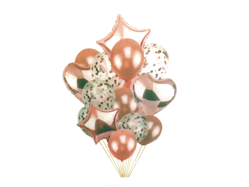 Special Foil And Confetti Balloon Combo - Rose Gold Color - Instaparty.in