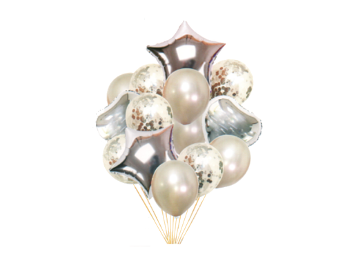 Special Foil And Confetti Balloon Combo - Silver Color - Instaparty.in