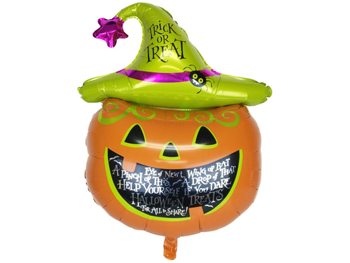 Trick Or Treat Pumpkin Foil Balloon - Green & Orange Color - Halloween - Instaparty.in