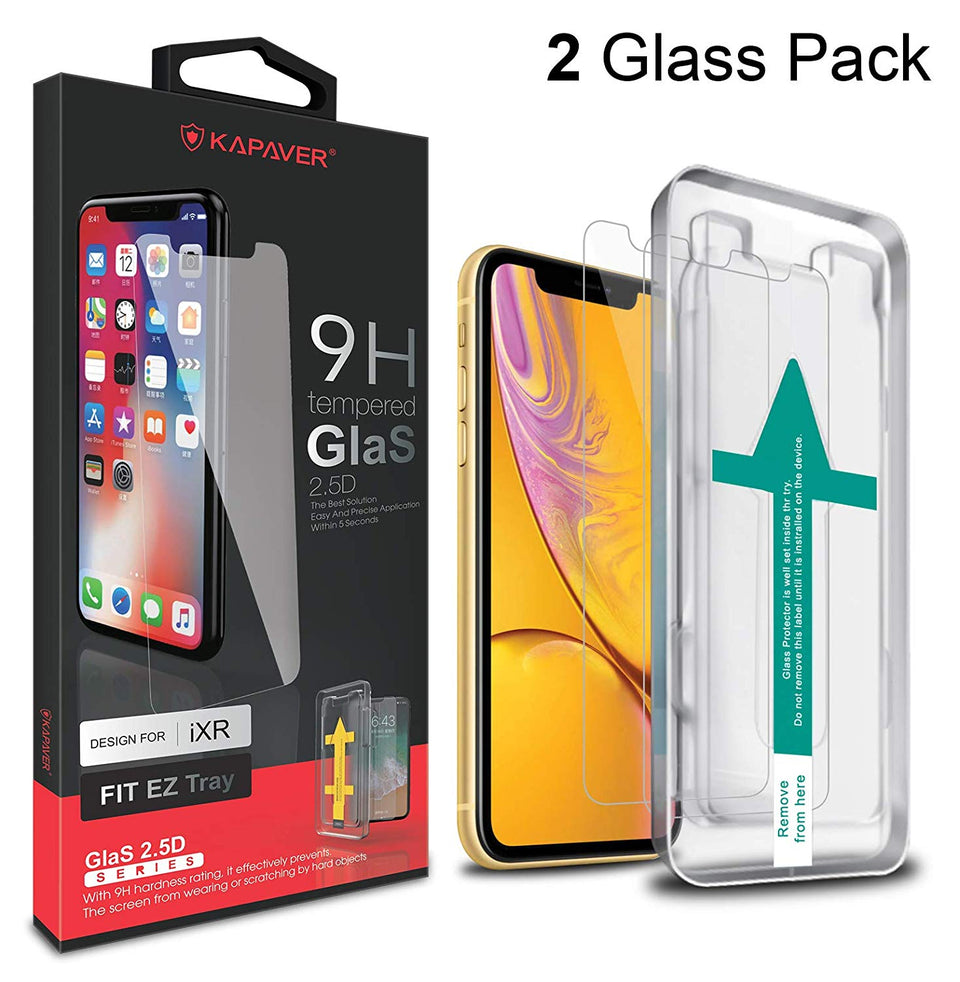 Kapave 2.5D Tempered Glass for iPhone XR / iPhone 11  (Pack of 2 Glasses with 1 Easy Applicator)