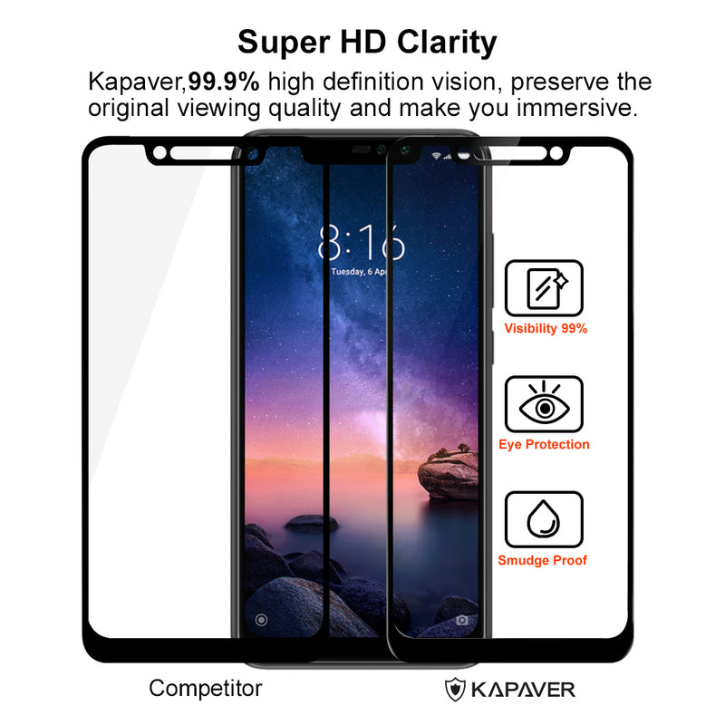 Kapaver 3D Tempered Glass for Xiaomi Redmi Note 6 Pro