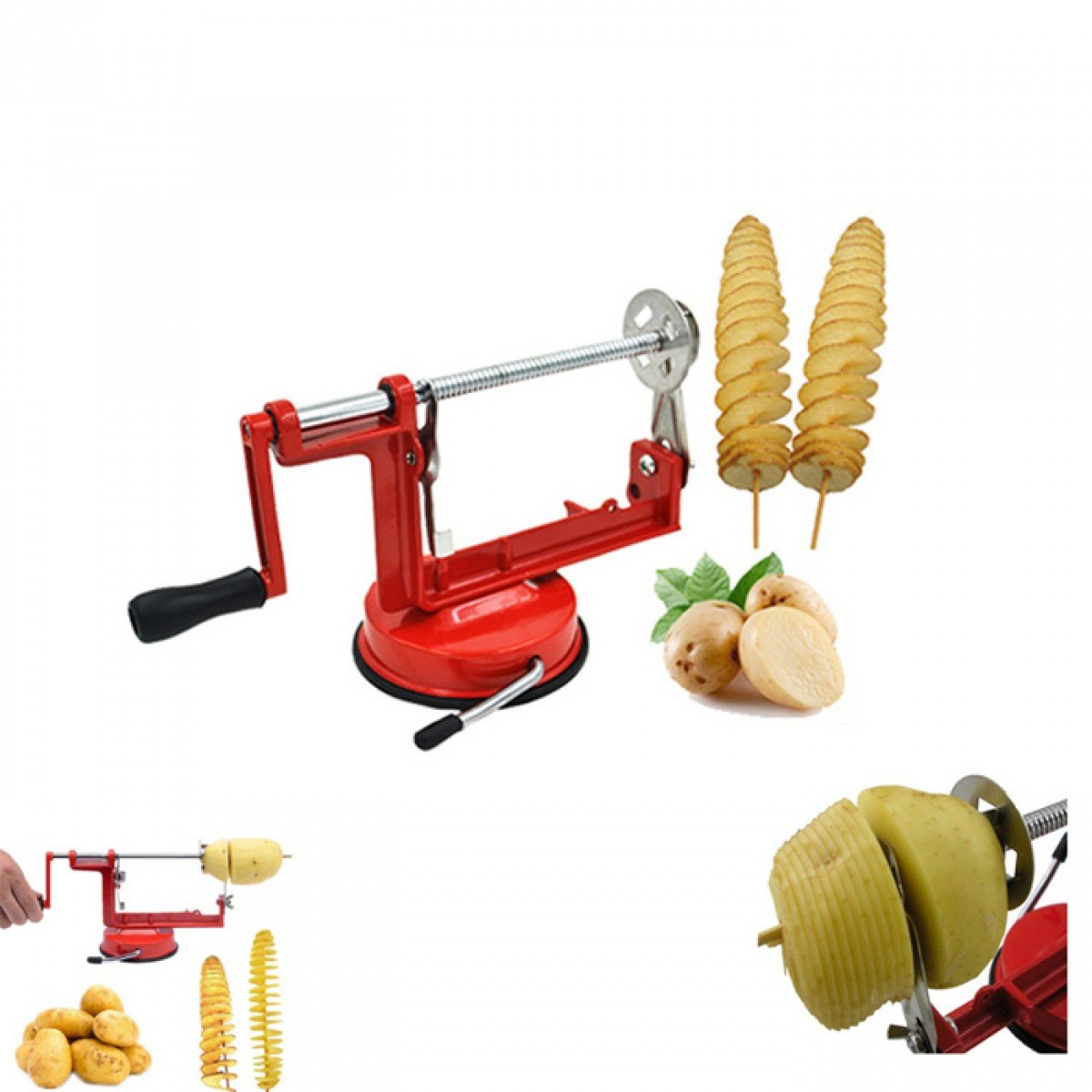 Potato Spiral Cutter Twisted Fruits Vegetable Slicer Stainless Steel