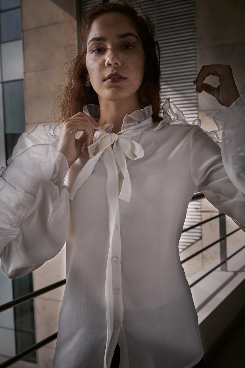 Dramatic Organza Bow-Tie Shirt