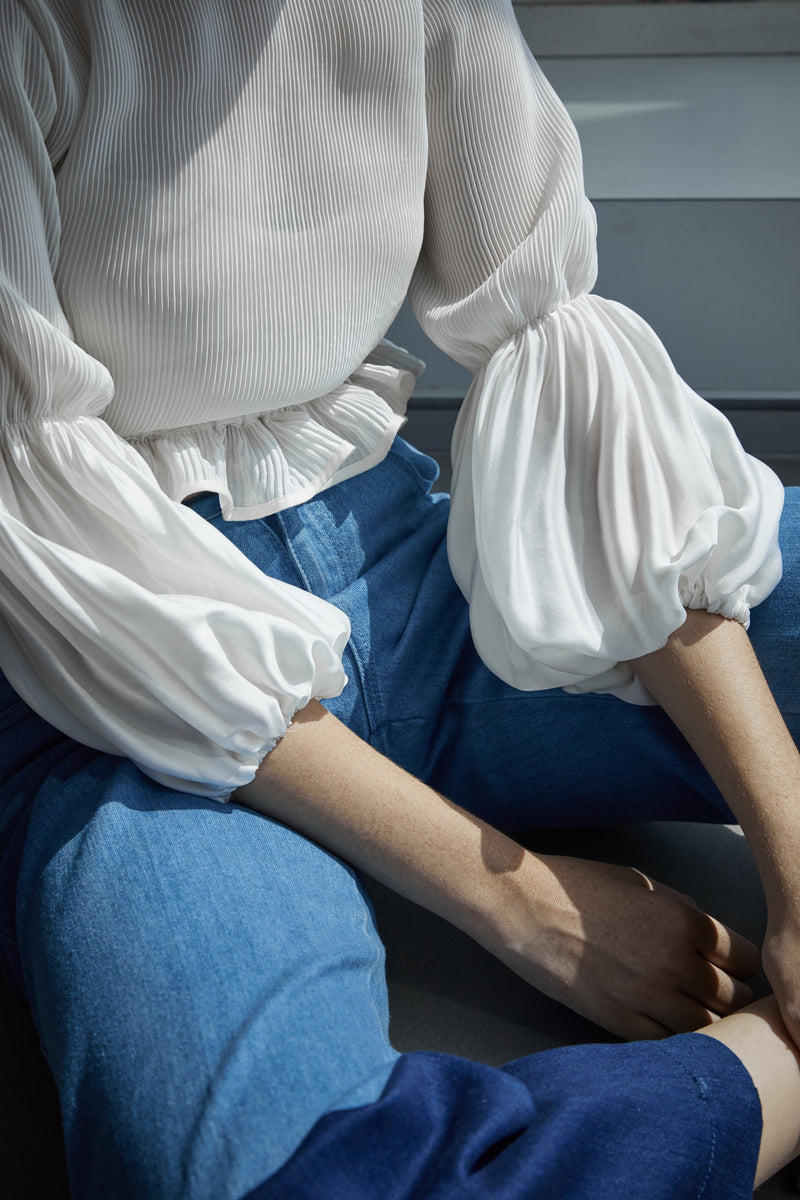 Pleated Balloon Sleeve Blouse