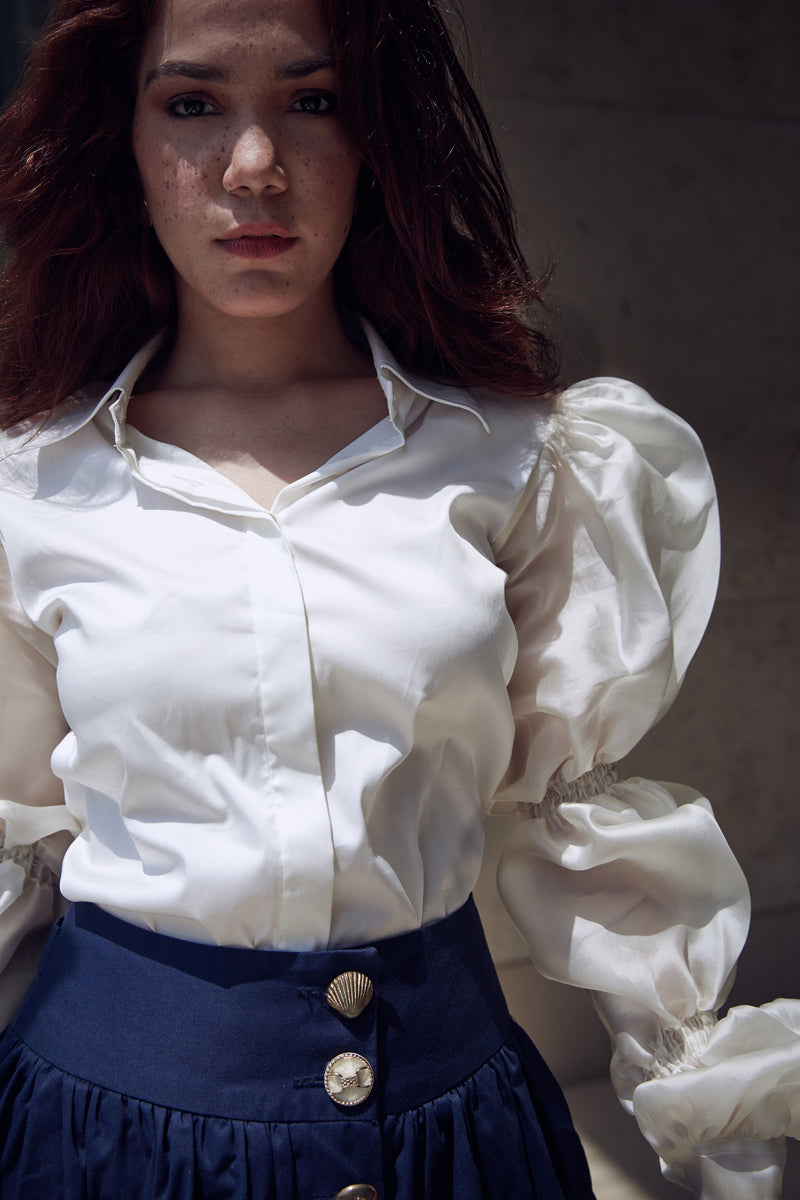 Puffed Organza Sleeves Shirt