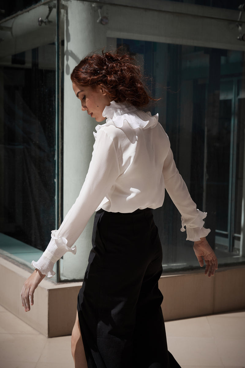 Victoria Micropleated Neck Shirt