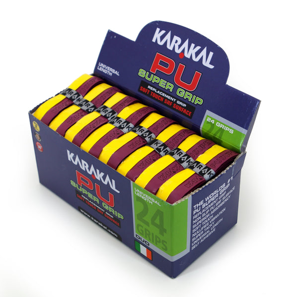 Karakal PU Super Grip - Duo - Maroon/Yellow - Box of 24
