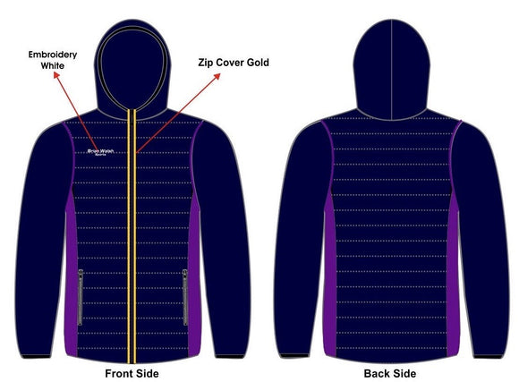 Brian Walsh Sports Hooded Jacket- Purple/Navy