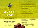 Product label for Aztec Gold hemp cannabis chocolate truffle bonbons