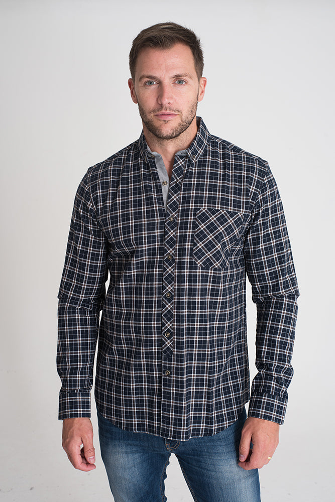 navy-checked-long-sleeve-casual-shirt