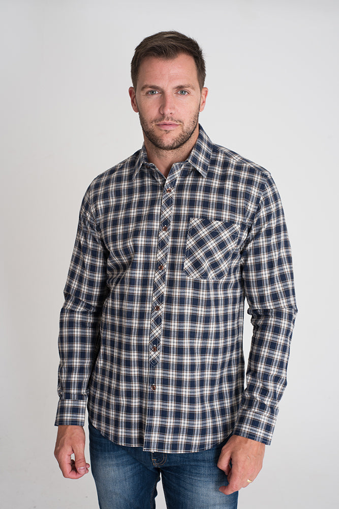 navy-gingham-checked-casual-long-sleeved-shirt