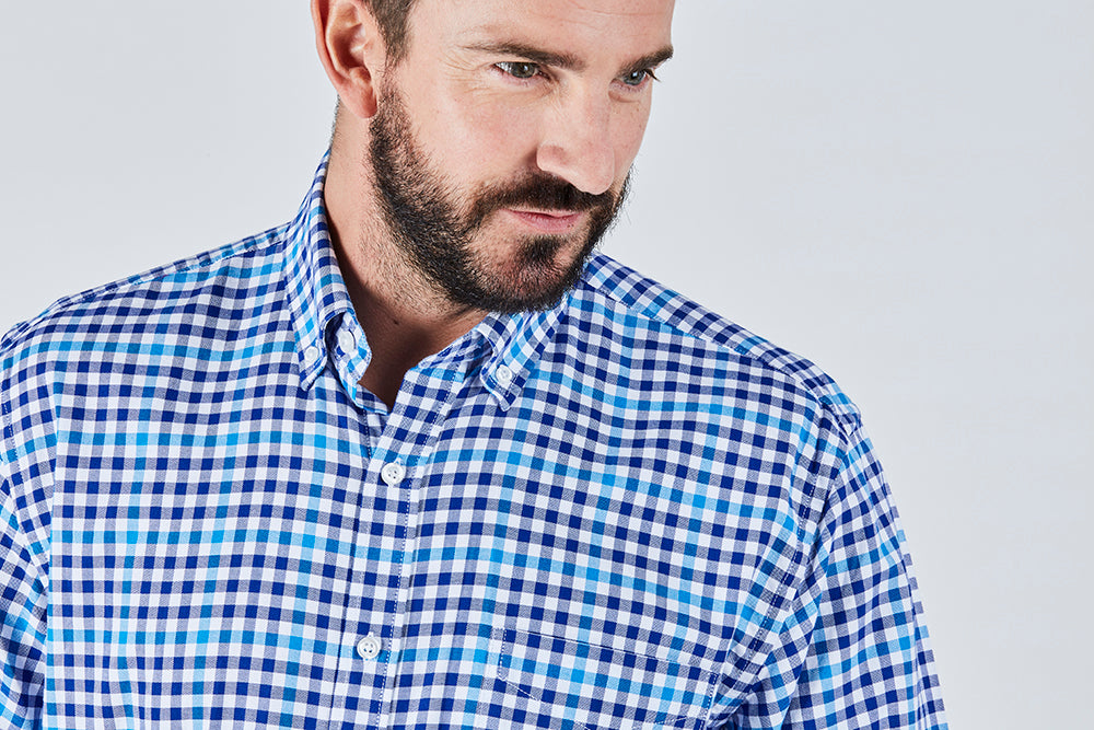 blue-mini-checked-casual-long-sleeved-shirt