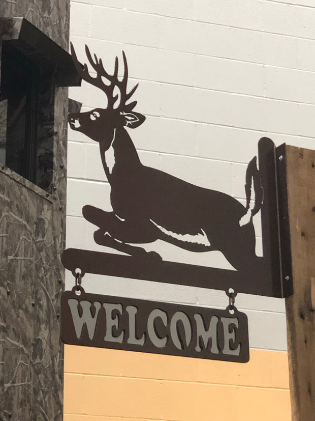 Jumping Deer Welcome Sign