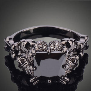 BLACK RHODIUM PLATED DEMON PRINCESS WEDDING RING