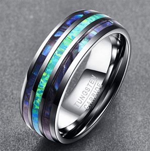 OPAL AND ABALONE TUNGSTEN CARBIDE RING