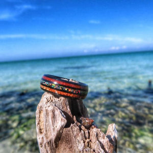 UNIQUE KOA WOOD AND OPAL TUNGSTEN RING