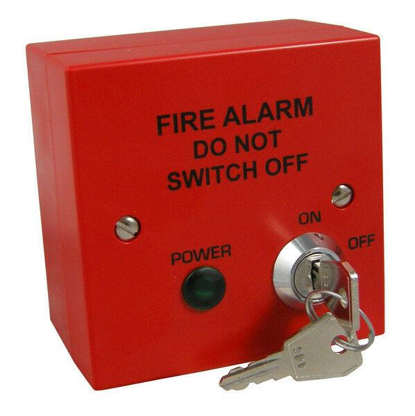 Fire Alarm Spur 230v Mains Isolator Key Switch Fused to BS5839  - Red