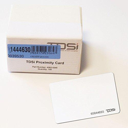 4262-0245 - 100 PACK TDSI Proximity Access Cards Plain White