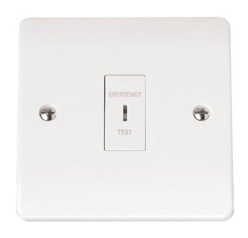 White Emergency Lighting Double Pole Test Key Switch inc Key