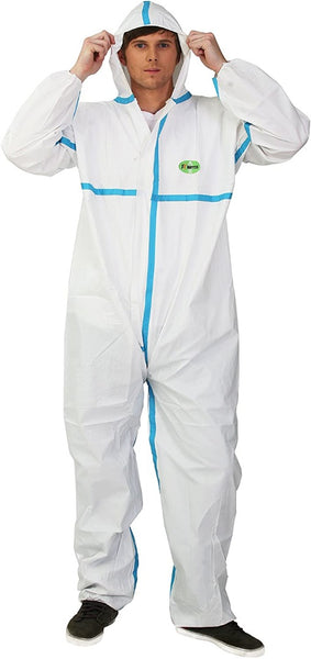 Disposable Chemical Protective Coverall Microporous Suit Taped Sealed Seams with Hood, Elastic Wrist, Ankles and Waist,Front Zipper (Small)