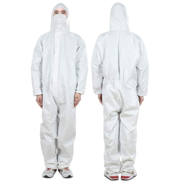 Protective Disposable Coveralls Suit with Hood, Elastic at Cuffs, Ankles and Waist, Zip Front Opening (Large)