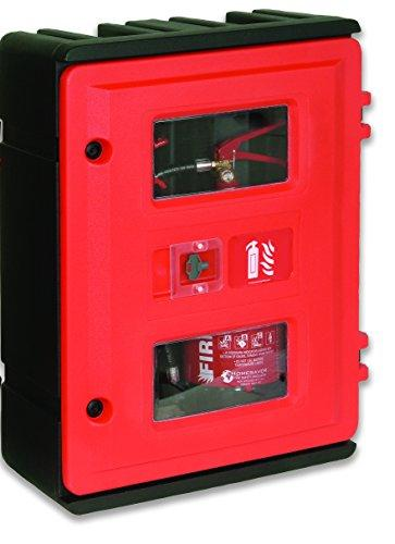 Jonesco HS72K Double Extinguisher Cabinet with Key Lock, 2 kg x 6/9 kg, Red