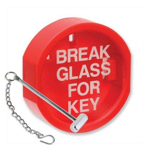Break Glass Key Box with Hammer & Chain - Indoor / Outdoor Keybox with Plastic Cover